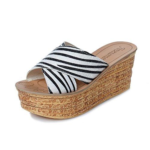 Chanclas MEIDUO sandalias 7cm femeninas zapatillas de moda de verano sandalias de tacón alto con 5 colores cómodo B- cloth