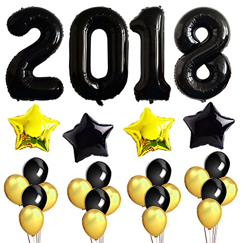 2018 Black Balloons Decorations Kit For Merry Charistmas Happy New Year Party - Wishes Christmas Happy New And Year