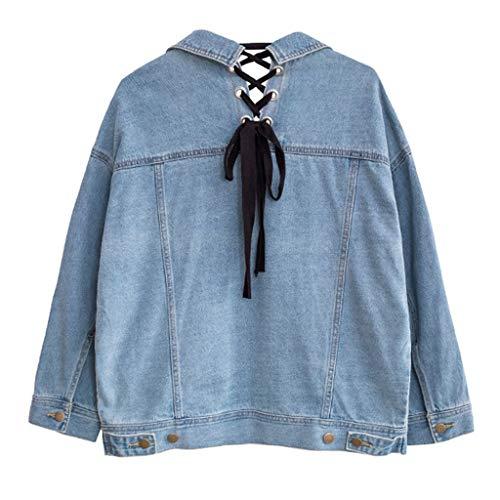 Blu Con Studente A Da Lunghe Nz In Lungo Cappotto Vintage Casual colore Denim Dimensioni Blu Maniche M F0gqaPwg