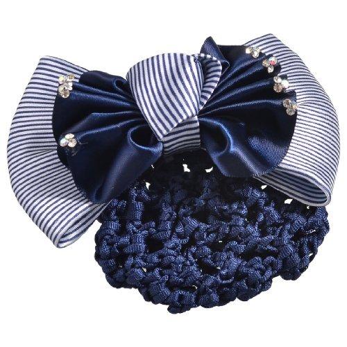 (DealMux Woman Glitter Rhinestone Accent Ruffled Bow Hairnet Hairclip Navy Blue)