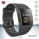 KeeGan Smart GPS Watch Fitness Tracker 5ATM Waterproof Activity Tracker 23 Sports Modes Real-time Heart Rate Monitoring Men Women Kids (Black)