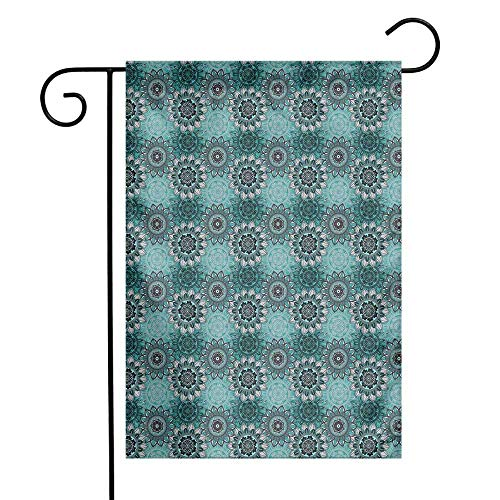 Mandala Garden Flag Hippie Oriental Abstract Motifs Traditional Round Spring Inspired Design Premium Material W12 x L18 Taupe Black Turquoise - Motif Turquoise Earrings