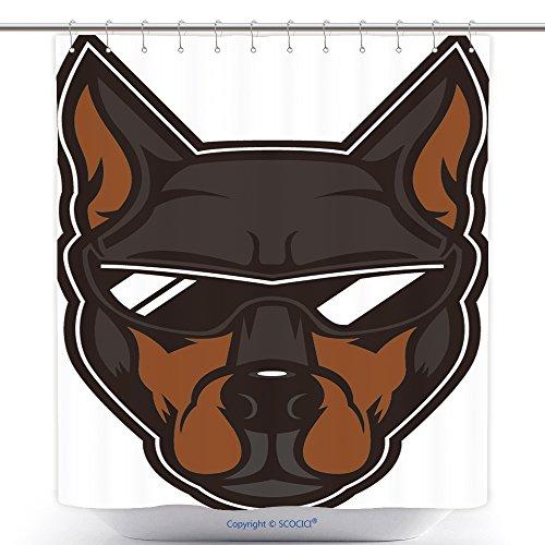 Mascot Costumes Ebay (Mildew Resistant Shower Curtains Elite Doberman Head Mascot A Doberman Dog Wearing Sunglasses 595177283 Polyester Bathroom Shower Curtain Set With Hooks)