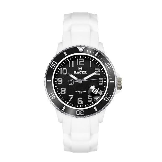 Racer Reloj Analógico para Unisex Adultos de Cuarzo Correa Silicona Reforzada antialérgica WE21: Amazon.es: Relojes