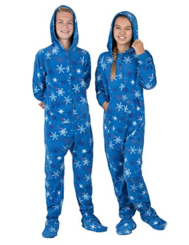 Footed Pajamas - - Its A Snow Day Kids Hoodie Fleece Onesie - Large