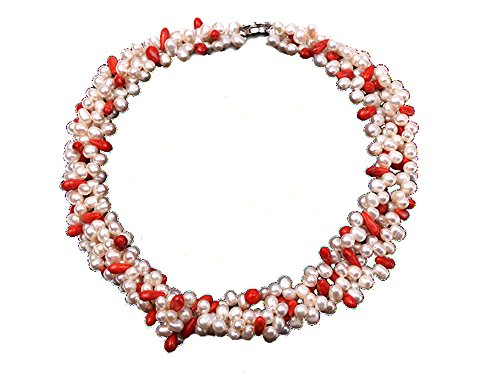 (JYX Pearl Necklace for Women Four-Strand White Freshwater Pearl and Red Coral Beads Necklace 17
