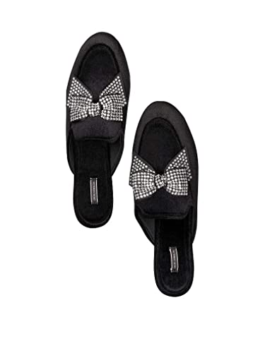 5ebe98ecbb78 Image Unavailable. Image not available for. Color  Victorias Secret  Slippers Velvet Bow Slides Black ...