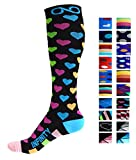 Compression Socks (1 pair) for Men & Women by INFINITY - BEST for Running, Nurses, Shin Splints, Flight Travel, & Maternity Pregnancy - Boost Athletic Stamina & Recovery (Spectrum Hearts, L/XL)