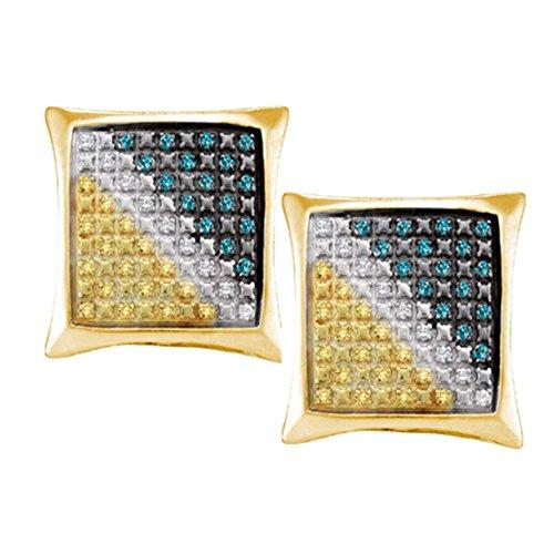0.25ctw Canary Yellow Blue & White Princess Cut Square Shape Diamond Stud Earrings