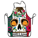 Mexico Flag Detailed Mexican Sugar Skull Day Of The Dead Retro Vintage Mexico Bib Apron Adult Women Unisex Durable Comfortable Washable For Cooking Baking Kitchen Restaurant