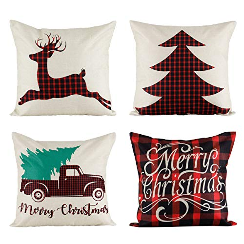 18x18 Christmas Throw Pillow Covers, Decorative Outdoor Farmhouse Buffalo Plaid Plad Merry Christmas Xmas Red Truck Moose Christmas Tree Pillow Shams Cases Slipcovers Set of 4 for Couch Sofa