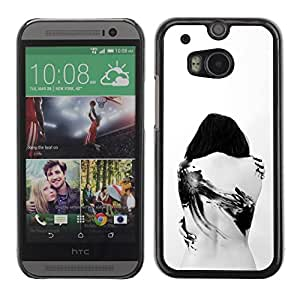 FECELL CITY // Duro Aluminio Pegatina PC Caso decorativo Funda Carcasa de Protección para HTC One M8 // Tattoo Deep Sad Goth Emo White Black