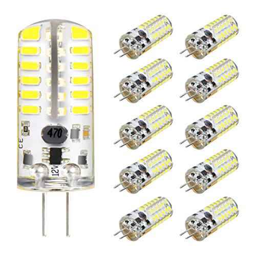 KINGSO G4 LED Bulb 10 Pack 3W Bi-Pin LED Light Bulb 48×3014 SMD 20W Halogen Bulb Equivalent Silicone Coated Shatterproof 220 Lumens 360° Beam Angle AC/DC 12V - Pure White