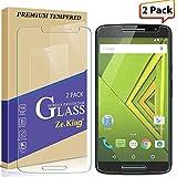 Zeking [2-Pack] Motorola Moto Droid Maxx 2 Tempered Glass, Moto X Play Screen Protector 9H Hardness [Anti Scratch][Anti-Fingerprint] Bubble Free