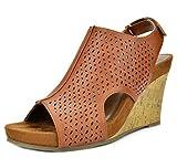 Toetos Women's Solsoft-6 Tan Pu Mid Heel Platform Wedges Sandals - 8 M US