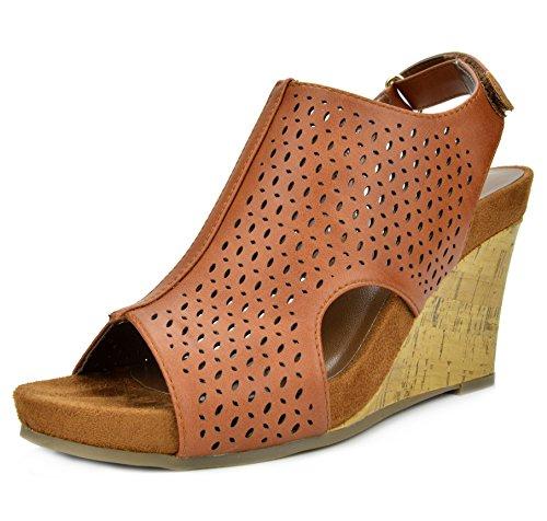 ae4c92efa3c TOETOS Women s Solsoft-6 Tan Pu Mid Heel Platform Wedges Sandals - 5.5 M US