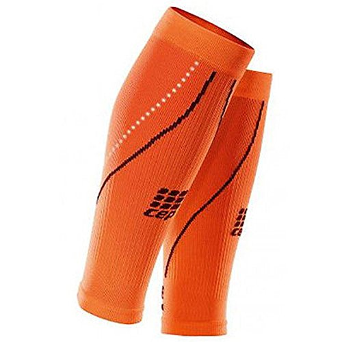 CEP Men's Progressive+ Night Calf Sleeves 2.0 Provide Unique Compression Technology for Running, Cross Training, Fitness, Calf Injuries, Shin Splits, Recovery and Athletics, 20-30mmHg , Flash Orange