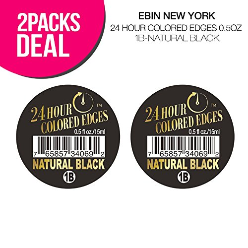 (2 PACKS) EBIN New York 24 Hour Colored Edges 0.5oz (1B-Natural Black) - Edge Natural