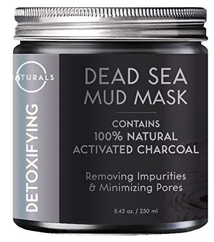 O Naturals Dead Sea Mud Mask with Charcoal - 100% Natural Vegan Detoxifying Face & Body Mask for Deep Cleansing, Treating Acne, Exfoliating Skin, Reducing Wrinkles, Purifying & Pore Minimizing 8.45 oz. (Mineral From The Dead Sea Magic Mud Masque)