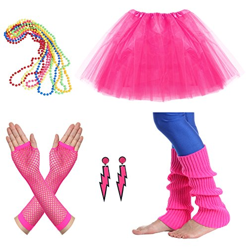 JustinCostume Women's 80s Outfit Accessories Neon Earrings Leg Warmers Gloves (80s Costume For Girls)