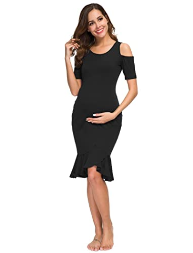 4be86feadf Ecavus Women s Maternity Short Sleeve Fitted Mermaid Dress Cold Shoulder  Ruffle Hem Knee Length for Baby Shower at Amazon Women s Clothing store