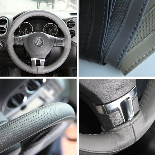 Circle Cool 47008 Gray Grey PVC Leather Steering Wheel Stitch On Wrap Cover 14.5
