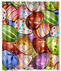Unique Custom Happy Easter Fashionable Colorful Eggs Design Background Waterproof fabric Polyester Shower Curtain