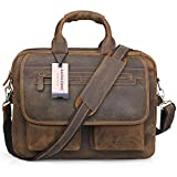 Jack&Chris Men's Handmade Leather Briefcase Laptop Bag Messenger Shoulder Bag,NM1862