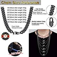 ChainsHouse 6MM-14MM Chunky Miami Cuban Link Chain Stainless Steel//18K Gold Plated Curb Necklace Jewelry for Mens Boys Womens 18-30