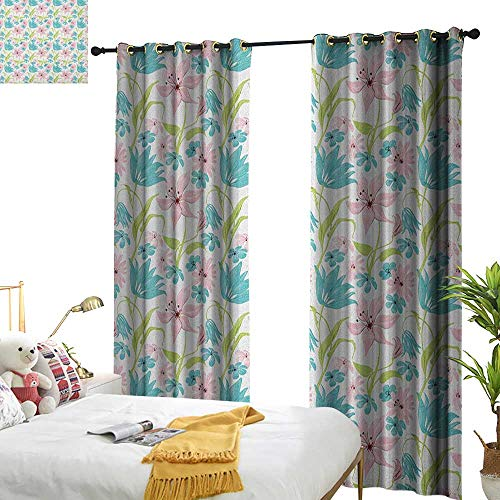WinfreyDecor Insulated Sunshade Curtain Floral Botanical Artistic Soft Nature Daisies Lilies Blue Pink Blossoms Darkening and Thermal Insulating W72 x L108 Turquoise Pale Green Pale ()