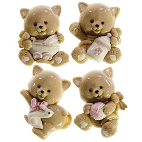 24 pezzi, Bomboniera  GATTO CALAMITA  (4 soggetti assortiti), per nascita, BATTESIMO, COMPLEANNO CM 4x4,8 (nc0516054c) (rosa)