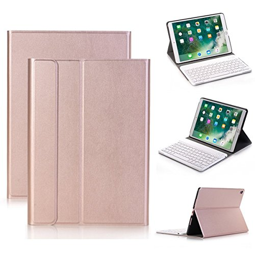 Hulorry 10.5 inch Keyboard Case, Smart Case with Detachable Wireless Bluetooth Keyboard PU Leather Folio Hard Back Cover Stand Case for Apple iPad Pro 10.5 inches by Hulorry