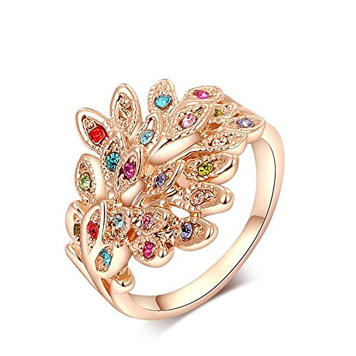 Winter.Z Noble and Elegant Ladies Jewelry Popular Explosion Models Austria Crystal Rose Gold Diamond Peacock Ring Wedding