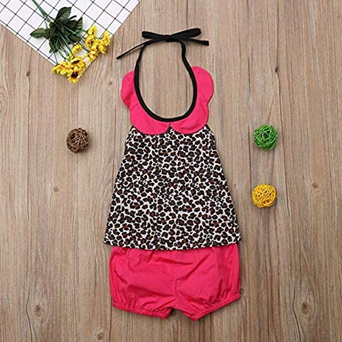 Puloru Toddler Baby Girls Leopard Print Sleevess Halter Neck Dress Skirt Clothes Playwear Swimming