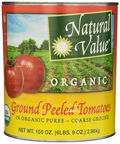 Natural Value Organic Ground Peeled Tomatoes in Organic Puree - Coarse Ground, 105 Ounce (Pack of 6) by Natural Value