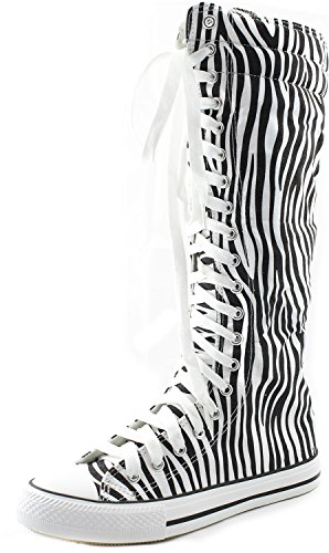 DailyShoes Women's Knee High Punk Sneaker Boots Punk-Hi Zebra, 8.5 (Zebra High Sneakers Top)