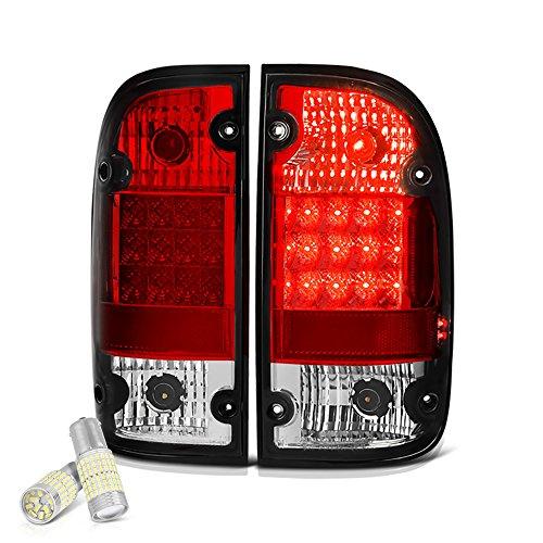 [For 1995-2000 Toyota Tacoma] VIPMOTOZ Premium LED Tail Light Lamp - Full SMD LED Backup Bulbs, Rosso Red Lens, Driver & Passenger Side ()
