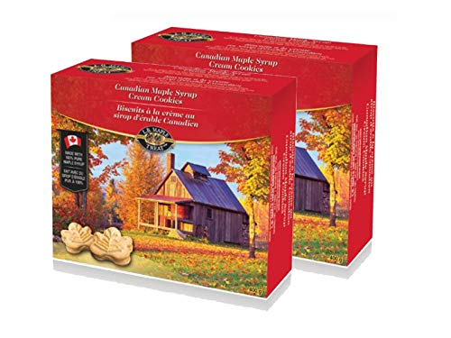 LB Canadian Maple Leaf Sugar Cream / Creme Snack Cookies (2 Pack) Candy Treat 400Grams 14 Ounce from L.B Maple Treat