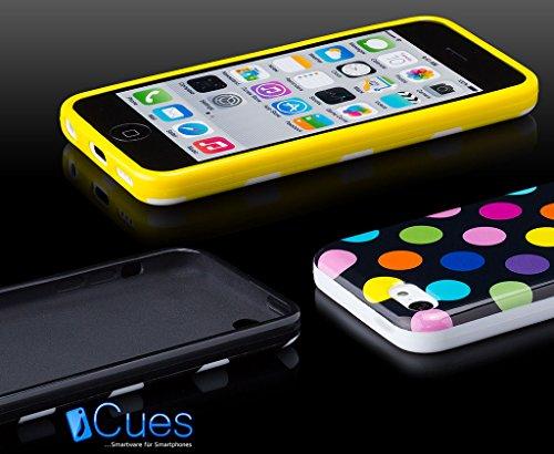 Apple iPhone 5C | iCues pois TPU noir / couleur | [Protecteur d'écran, y compris] Mesdames Femmes Filles motif motif gel de protection en silicone peau Couvercle de protection Couvercle Coque Housse S