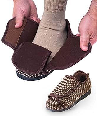 Mens Extra Extra Wide Slippers - Swollen Feet - VELCRO® brand Diabetic & Edema - Beige Tartan 7