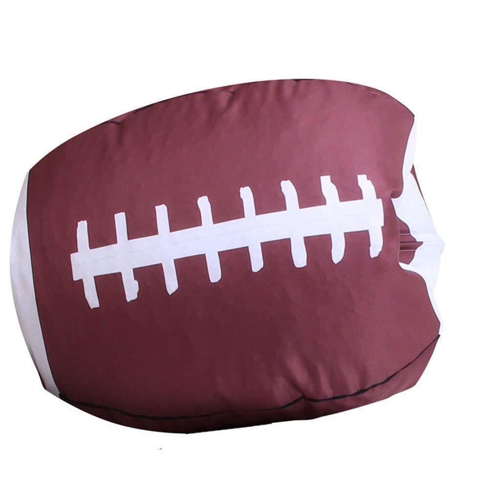 Storage Bag, Kids Stuffed Animal Plush Football Toy Storage Bean Bag Soft Pouch Stripe Fabric Storage Packet