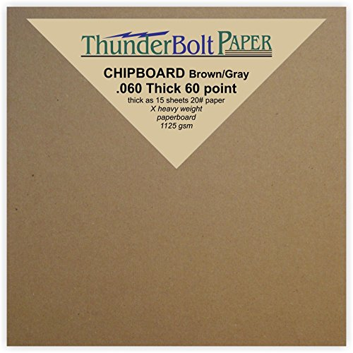 50 Sheets Brown/Gray Chipboard 60 Point Extra Thick 4'' X 4'' (4X4 Inches) Small Square Card Size .060 Caliper Extra X Heavy Cardboard as Thick as 15 Sheets 20# Paper by ThunderBolt Paper