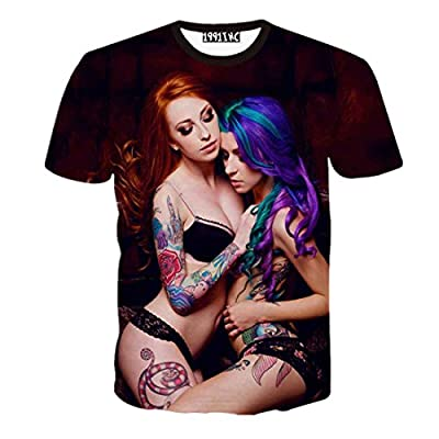 FaPlus Men's Fashion Tee 3D Sexy Girl Print T-Shirts
