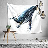 JUNMAO Ocean Fish Theme Tapestry Wall Hanging Whale Dolphin Wall Decor for Bedroom Living Room Decoration BeachThrow Table Cover (C, 3)