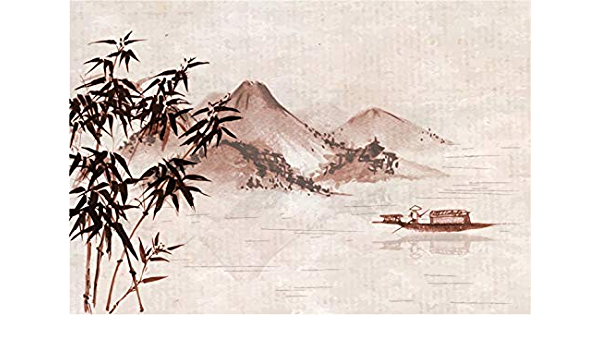 GoEoo 10x10ft Chinese Nature Landscape Painting Backdrop Beautiful Sunset Fisherman Bridge Graphic Mountains Rivers Photo Background Studio Props