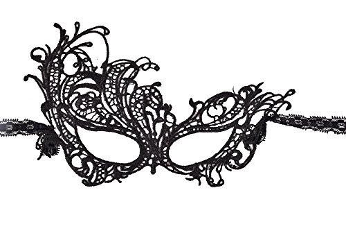 Black Harlequin Half Mask (Oxfox Lace Masquerade Mask Halloween Women Eye Mask Fancy Dress Party Style E)