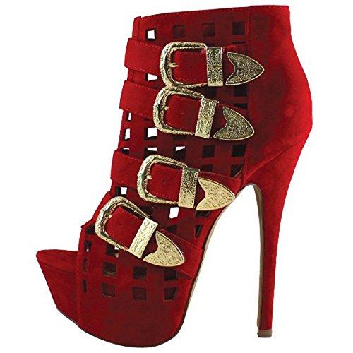 Liliana Red Peep-toe Side Buckle Booties Faux Suede Luxy-41