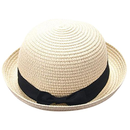 - vmree Parent-Child Cap, Unisex Summer Cool Woven Straw Hat Beach Sunhat Sunshade Headwear (Kid's Set, Beige)