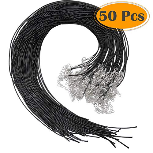 Selizo 50Pcs Necklace Cord Black Waxed Cotton Cord for Necklace Making and Bracelet Making ()