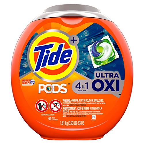 Tide PODS Laundry Detergent Liquid Pacs with Ultra Oxi Tub, 4 in 1 HE Turbo, 61 Count (1 A Laundry)